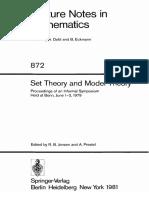 Set Theory and Model Theory - Jensen, Prestel - 1979