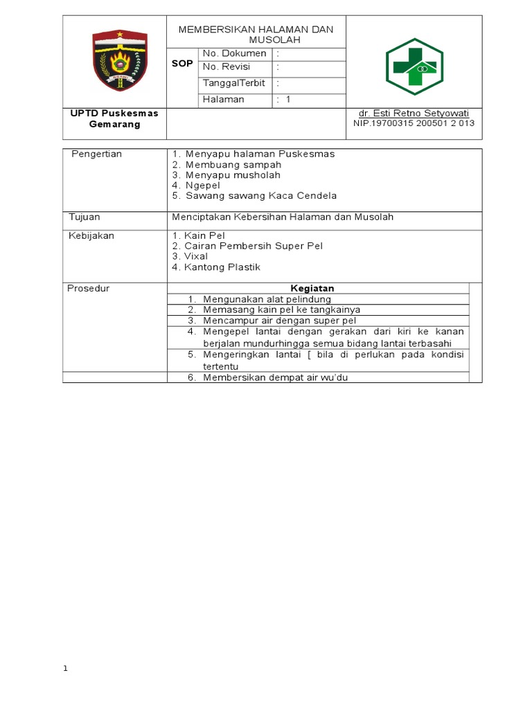Sop Form 1 Doc Super Pel