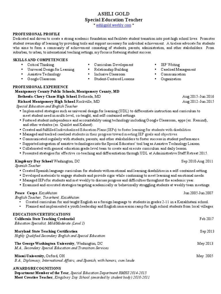 Ashli Gold Weebly Resume 3 17 Special Education