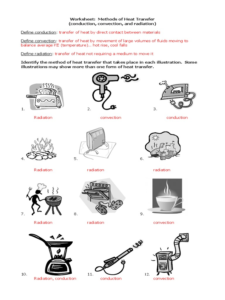 Worksheets Heat Transfer Worksheet methods of heat transfer answers convection