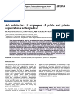 Job satisfaction of employees of public and private organizations in Bangladesh