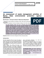 An assessment of waste management activities of Borno State environmental protection agency (BOSEPA)