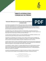 Venezuela Militarización de La Crisis, comunicado de Amnistía Internacional