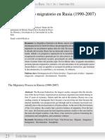 El Proceso Migratorio en Rusia (1990-2007)