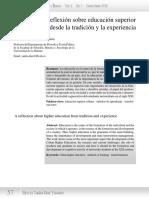 Una Reflexión Sobre Educación Superior Desde La Tradición y La Experiencia
