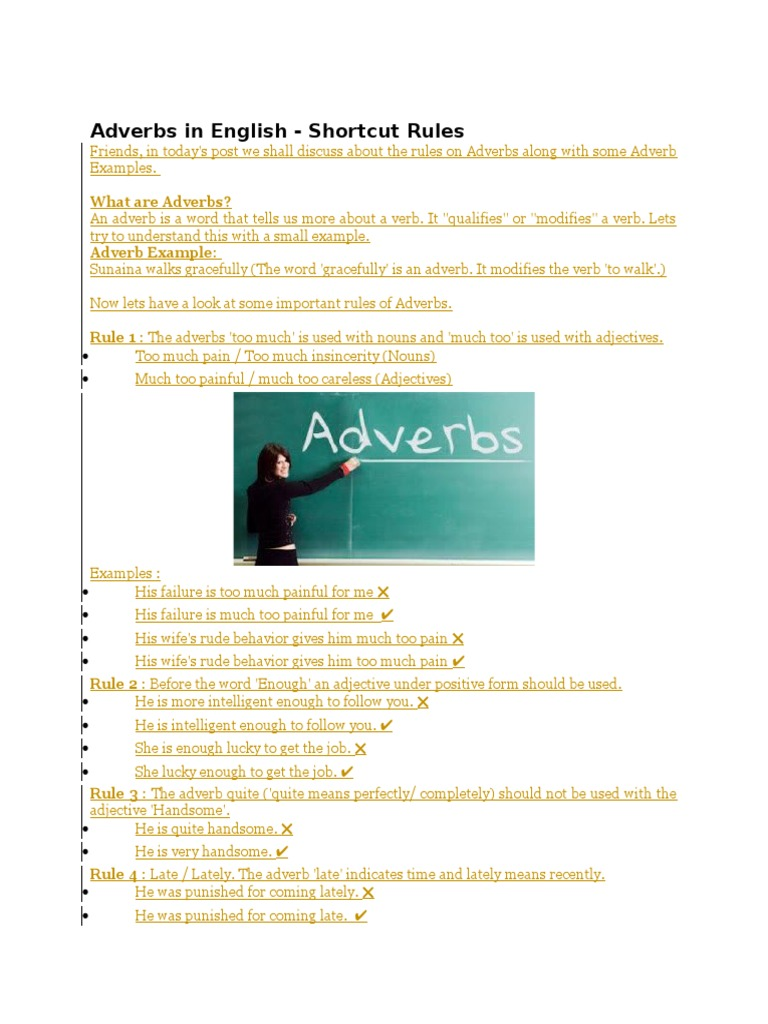 Adverbs In Englishcx Adverb Verb