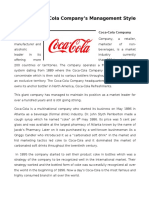 Assignment on Coca-Cola's Management Style