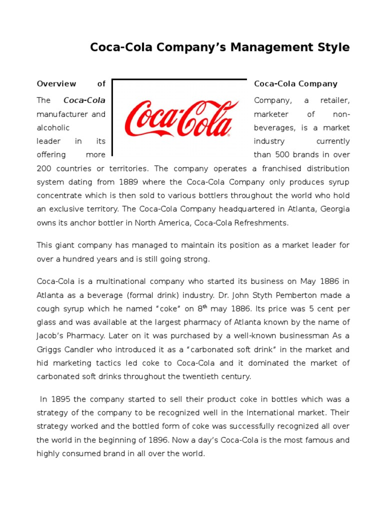Assignment on Coca-Cola's Management Style | Coca Cola