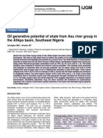 Oil generative potential of shale from Asu river group in the Afikpo basin, Southeast Nigeria