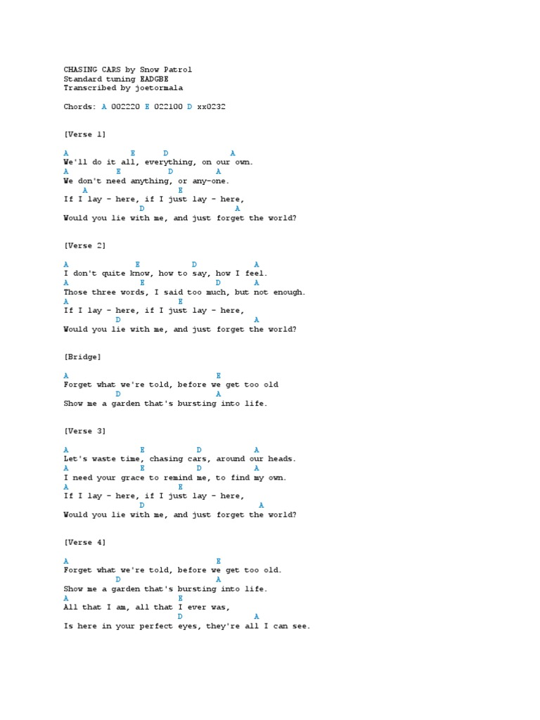 Nice Chasing Cars Guitar Chords For Beginners Embellishment