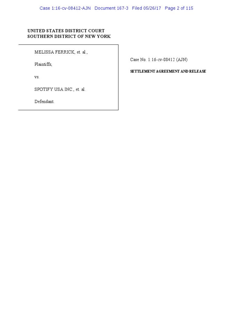 Ferrick Spotify Settlement Agreement Settlement Litigation