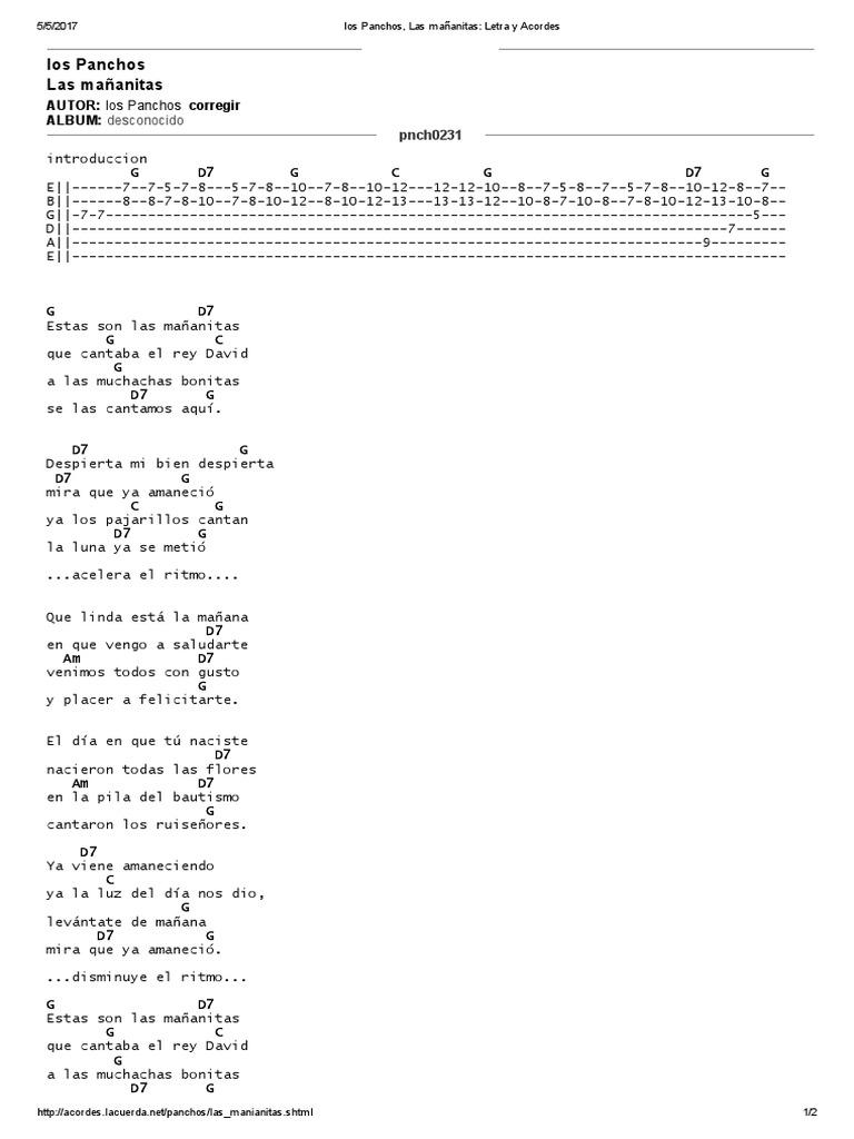 Los Panchos, Las Mañanitas   Letra y Acordes   Música grabada ...