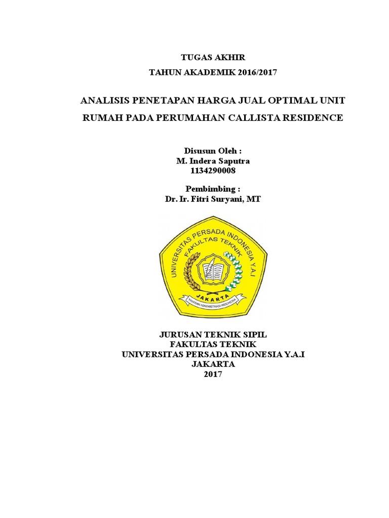 Cover Skripsi Teknik Sipil Universitas Persada Indonesia Y A I
