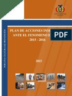 Plan de Acciónes Inmediatas Ante El Fenómeno de El Niño 2015 - 2016 Sfinal