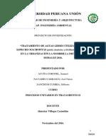 """Tratamiento de Aguas Grises Utilizando Dos Especies Macrofitas (Pistia Stratiotes y Eichhornia Crassipes)""."