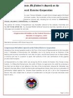 Mcfadden Speech on the Fed