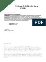 3735 - Programa Nacional de Habitação Rural - PNHR