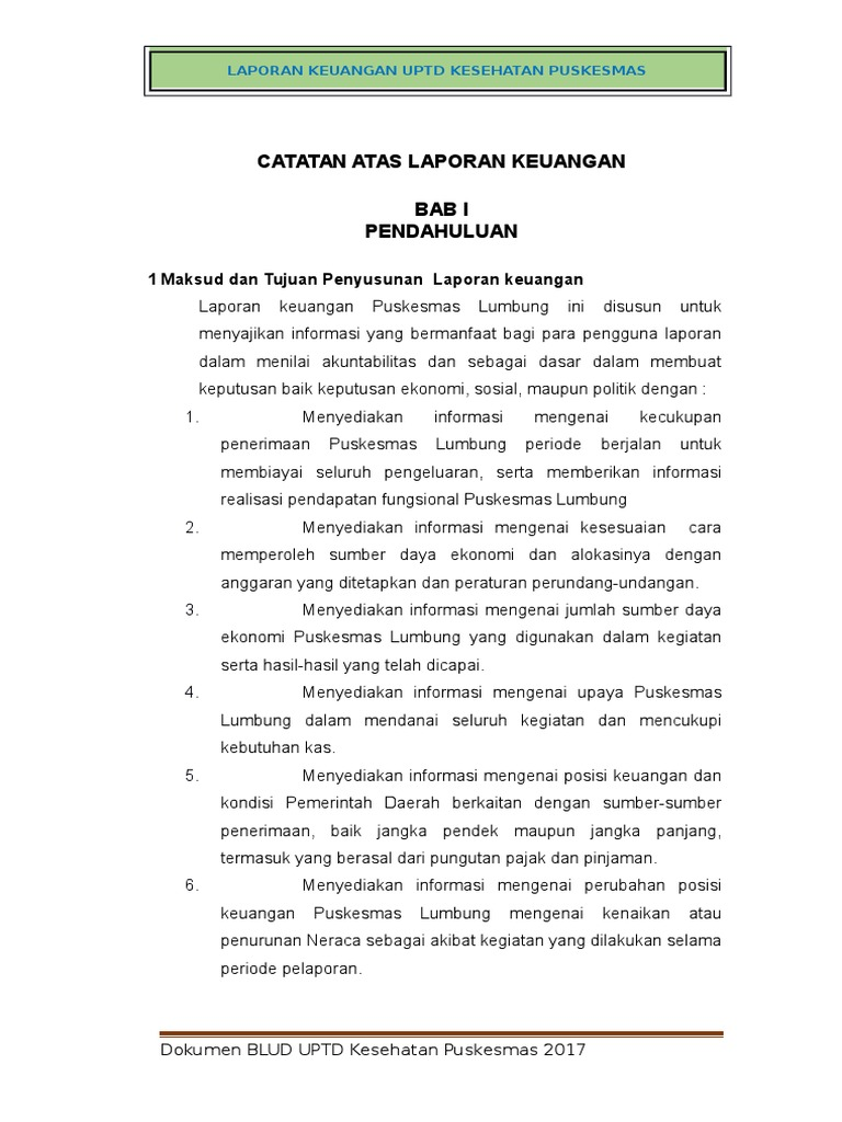 Contoh Dokumen Laporan Keuangan Puskesmas Lumbung Docx