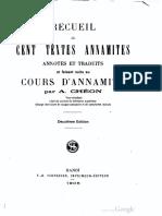 (1905) Recueil de cent textes Annamites - A. Chéon