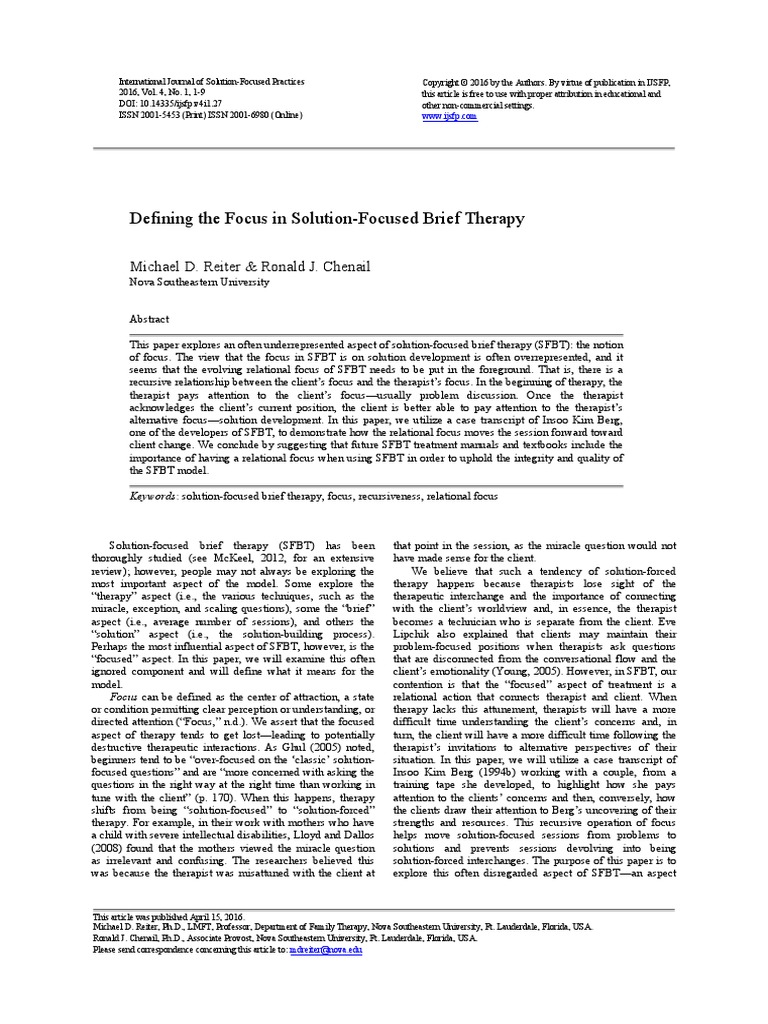 utilizing solution focused brief therapy with Managing child behavior problems in children with autism spectrum disorders: utilizing structural and solution focused therapy with primary caregivers.
