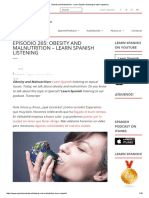 Obesity and Malnutrition - Learn Spanish Listening to Native Speakers