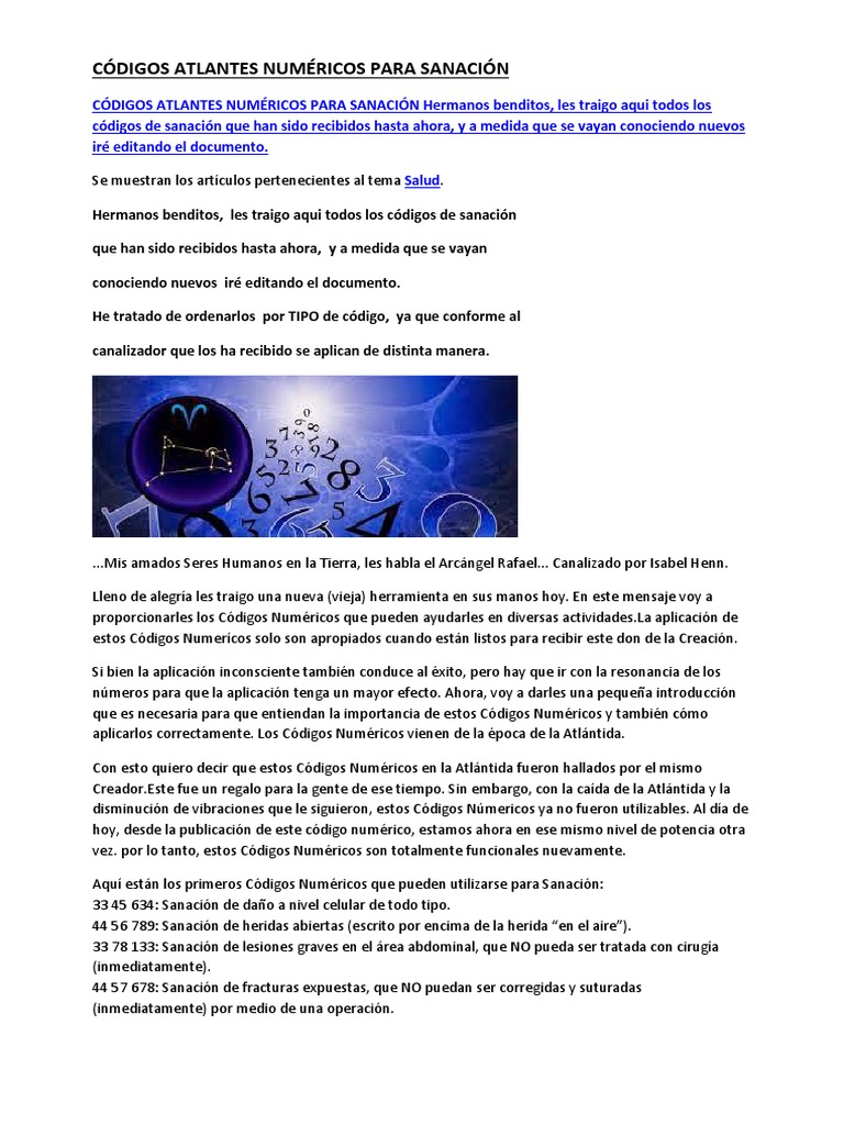 Códigos Atlantes Numéricos Para Sanación