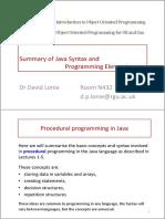Summary of Basic Programming Elements