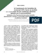 Area Clinica. Validación Del Cuestionario de Variables de Interacción Psicosocial (VIP) Hacia Un Modelo de Tratamiento de Las Conductas Adictivas Guiado Por La Personalidad
