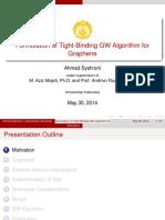 Formulation of Tight-Binding GW Algorithm for Graphene