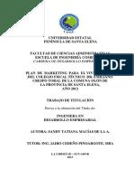"""Plan de Marketing Para El Vivero """"Vida"""" Del Colegio Fiscal Técnico Dr. Emiliano Crespo Toral de La Comuna Olón d"""