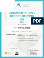 Florentina Barb Documentation and Record Keeping Certificate