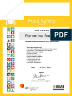 Florentina Barb Food Safety 2013 Certificate