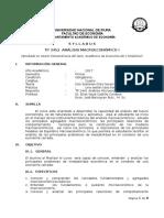 Silabus, Analisis Macroeconómico 1, Elias Castillo