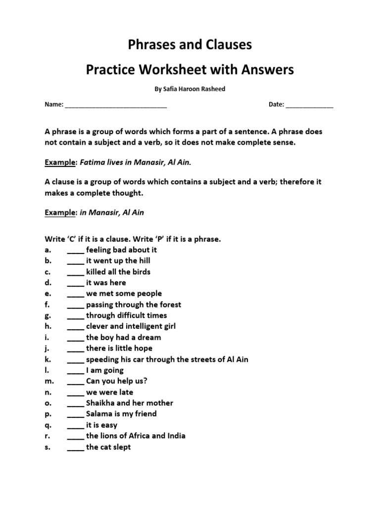 - Phrases And Clauses Practice Worksheet