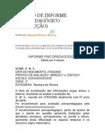 MODELO DE INFORME PSICOPEDAGÓGICO