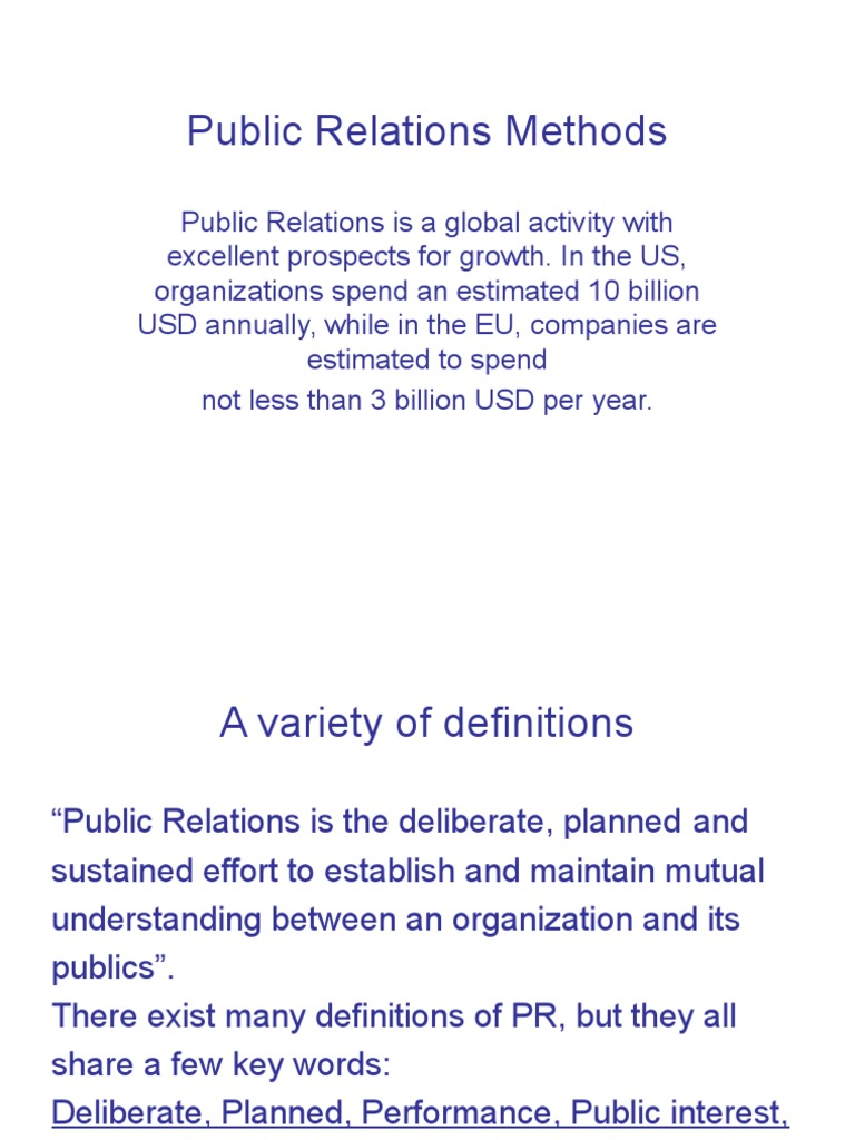 Public Relations Theory And Methods Public Relations Persuasion