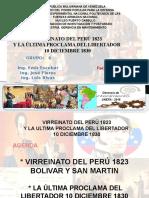 Virreinato Del Peru 1823 y Ultima Proclama Del Libertador Simon Bolivar 10dic1830.Doc