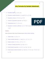 Important Statistics Formulas by Kamlesh Maheshwari