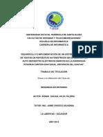 Desarrollo e Implementación de Un Sistema de Gestión de Ventas de Repuestos Automotrices en El Almacén de Auto Repuestos Eléctricos Marcos en La Parroquia Posorja Cantón Guayaquil, Provincia Del Guayas