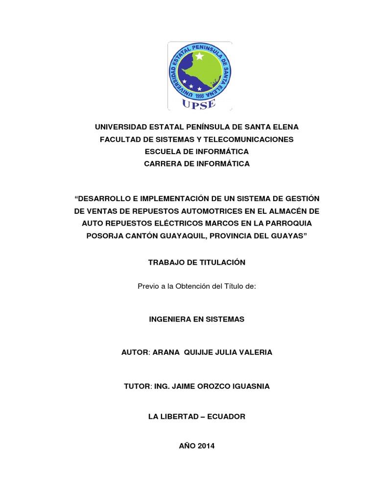 Desarrollo e Implementación de Un Sistema de Gestión de Ventas de ...