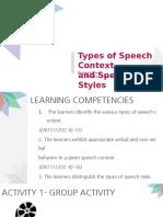 Speech Context and Speech Styles Final