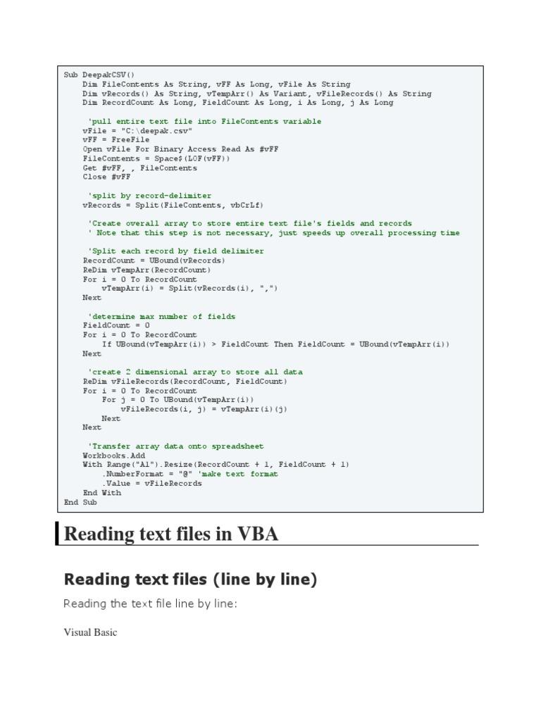 Read File | Data Type | Filename