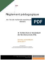 Règlement Pédagogique FITE 2016 2017. 1