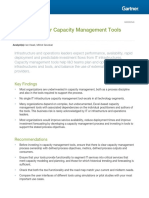 Market Guide for Capacity Management Tools: Key Findings