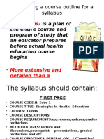Developing a Course Outline for a Syllabus