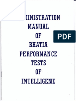 ADMINISTRATIVE MANUAL Bhatia Battery of Performance Intelligence Test