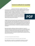Derecho Penal Teoría de La Atribución de Causalidad y Objetivo