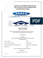 Comparative Analysis of Financial Statement of Sail With Other Steel Companies in India
