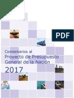 Comentarios Al Presupuesto General de La Nación 2017