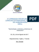VI JornadasDisciplinares 2017- Circular Nº 3